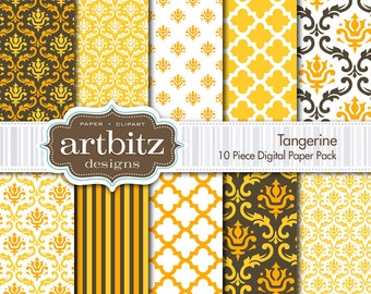 "Tangerine 10 Piece Damask Digital Scrapbooking Paper Pack, 12""x12"", 300 dpi .jpg, Instant Download!"
