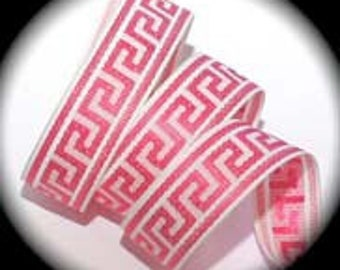"Greek Key Ribbon 1"" x 3 yards Hot Pink and White"