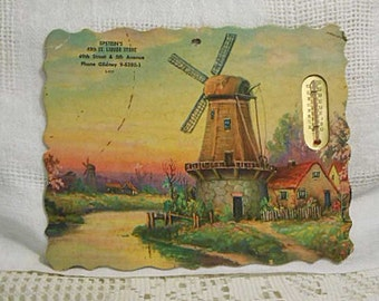 Vintage DUTCH WINDMILL Litho Print Advertising Thermometer Cottages River Peaceful Sunset Scene, 1940s Die Cut Brooklyn NY Liquor Store