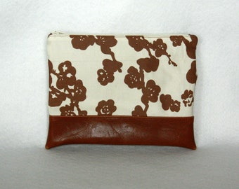 Zipper Pouch with Vinyl Accent - Brown and Cream Floral