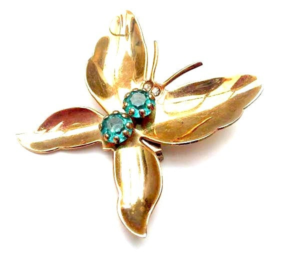 Butterfly Brooch - Blue Rhinestone - Gold plated metal - Insect figurine pin gift for her