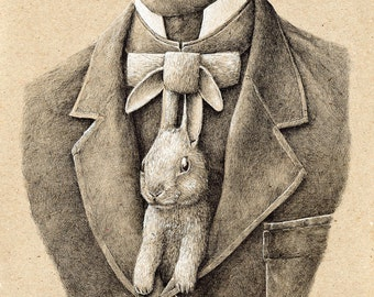 Postkarte-Kaninchen-Krawatte