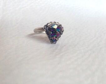 Titanium Aura Quartz Cluster Ring, in gently Oxidized Sterling Silver, Triangle motif, Spirit Guide