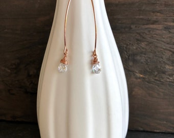 Rose gold earrings with clear cubic zirconia, contemporary rose gold earrings, simple rose gold earrings