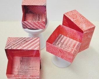 Origami Masu Paste Paper Nesting Boxes-Reds & Brown