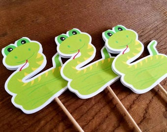 Zoo Animals Party - Set of 12 Snake Cupcake Toppers by The Birthday House