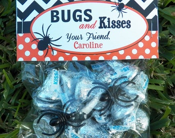 Personalized Halloween Treat Tags or Labels - Bugs and Kisses Tent Style Tags