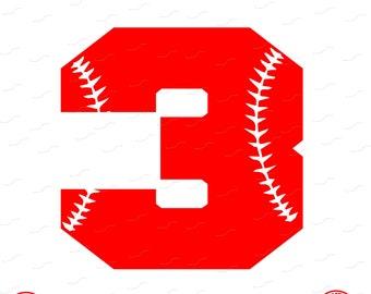 Digital Cut File, Monogram Baseball Numbers, Number 3, 3, Softball, Vinyl Cutting File, Baseball, SVG, DXF, EPS, Silhouette, Cricut