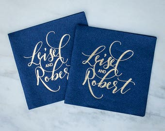 Personalized Wedding Linen Like Napkins, Custom Printed Party Napkins, Couple's Names, Engagement Party Napkins, Gold Foil Printed