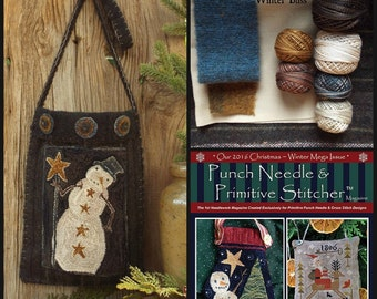 Complete Kit Winter Bliss Snowman Wool Pocket Weavers Cloth Valdani Threads