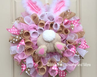 easter wreath easter bunny wreath easter mesh wreath bunny butt wreath bunny - Easter Wreaths