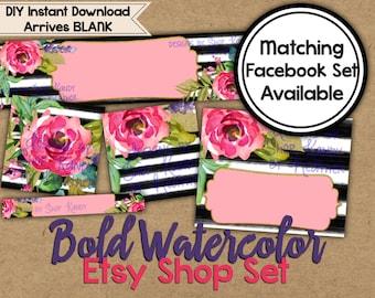 Watercolor Etsy Banner Set - Etsy Shop Banner - DIY Etsy Banner - Etsy Cover Image - Watercolor Banner - Watercolour Shop Banner Set