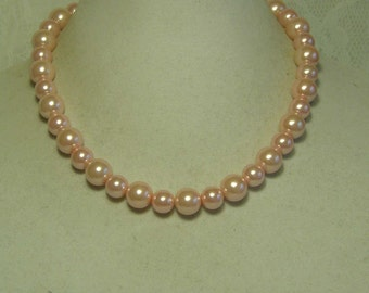 """Cynthia Lynn """"AFTERNOON TEA"""" Chunky Pastel Pink Beaded Glass Pearl Necklace 16""""-18"""""""