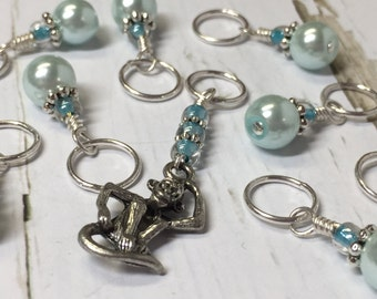 Monkey Stitch Marker Set - Snag Free Blue Knitting Markers - Gift for Knitters