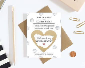1 Scratch Off Card Pregnancy Reveal - Will You Be My Godparents? - Pregnancy Announcement - New Godparents - Godfather - Godmother