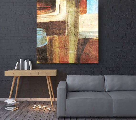 """Nature Abstract. Brown Blue Abstract Canvas Art Print, Extra Large Abstract Colorful Contemporary Canvas Art Print up to 48"""" by Irena Orlov"""