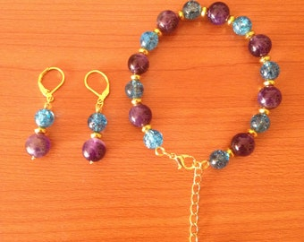 Bracelet and earrings with kyanite and Amethyst plated gold