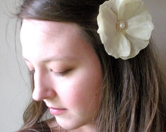 Cream Icelandic Poppy Flower Clip- Your Choice of Hair Clip or Brooch- Embroidered Silk Flower Fascinator- Cream with Cream Embroidery