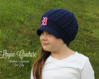 The Original- Detroit Tigers Inspired Pink D Crochet Newsboy Hat with Patch / Major League Baseball Baby / Baseball Baby
