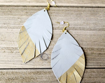 Grey and Gold Leather Feather Earrings