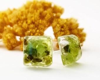 Peridot Stone Earring Studs, Gemstone, Post Earrings, Gemstone, Jewelry, Jewellery, Gift for her, rock earrings, stone