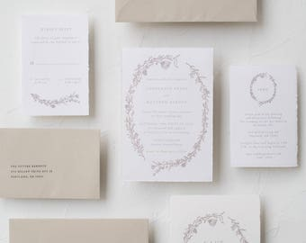 "Handmade Paper Botanical Wreath Invitation Suite / ""Laura"" Suite"