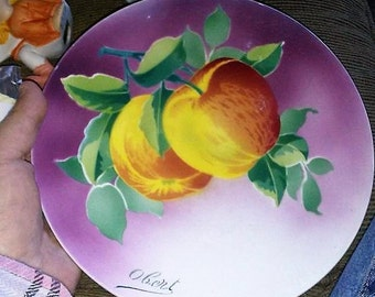Sale-K & G Luneville Handpainted Apples Plate- Obert