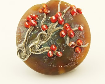Lampwork Glass Bead,  Lentil Focal Etched  'Bittersweet Branches'