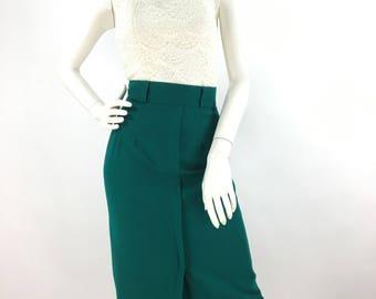 70s emerald green wool skirt/1970s wool midi skirt/100% wool skirt