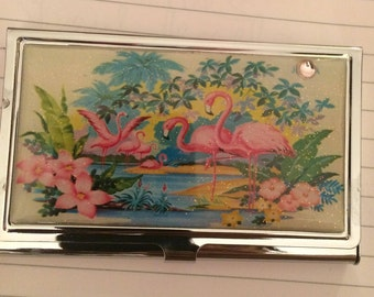 Retro Pink Flamingo Business Card Holder Credit Card Case