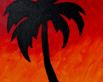 Palm Tree Silhouette Original Painting