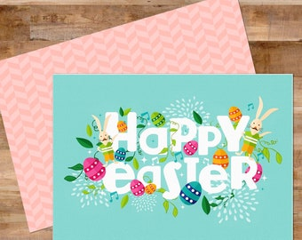 Printable Card, Easter Card, Easter Greeting Card, 5x7
