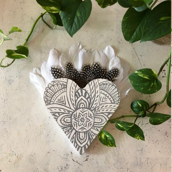 Valentine's Love Heart with feathers Wall Art, White Grey Boho Design,  Timber