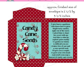Candy Cane Seeds Packet - US and International Sizes - Digital Printable - Good Craft Show Seller - Immediate Download