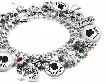Mothers Day Bracelet Personalized for Mom, Grandma, Aunt, Sister, Engraved Children Names, with birthstones is stainless steel