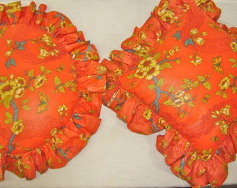 Asian Decor Throw Pillows. Accent Pillows. Matching Pair, Round and Square. Reversible.