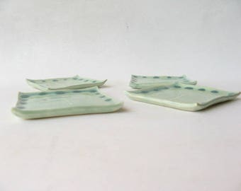 Small Trinket Dishes Set of 4, Small Square Plates with Ginkgo