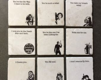 Star Wars - Any Four Coaster Set,  Gift for him, Gift for Men, Star Wars Gift, Star Wars Stone Coasters, WITH or WITHOUT TEXT,or Custom Text