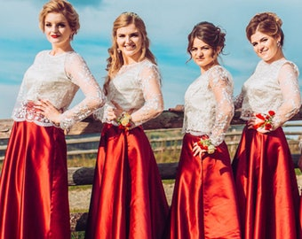 "Dress Red satin bridesmaid lace - ceremony woman lace silk satin wedding dress of ""Calais"" custom"