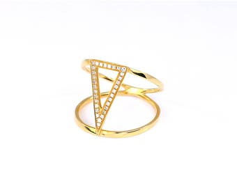 18K Yellow Gold Womens Diamond Ring 0.20ct R130Y (2520)