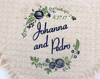 Floral Personalized Wedding Embroidered Throws and Blankets | Custom Monogrammed | Wedding Gift | Gift for the Couple | Unique Bridal Gift