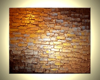 Abstract Metallic Reflective ORIGINAL PAINTING Contemporary Impasto Gold Bronze Palette Knife Textured Art by Lafferty - 16x20, Gift For Him