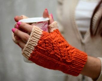 Halloween Gloves, Orange Knit Gloves, Hand Knit Gloves, Fingerless Gloves, Arm Warmers, Halloween Gift, Fall Fashion