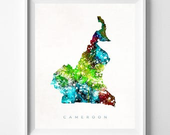Cameroon Map Print, Yaounde Print, Cameroon Poster, Home Decor, Map Art, State Art, Giclee Art, Map, Travel Poster, Fathers Day Gift