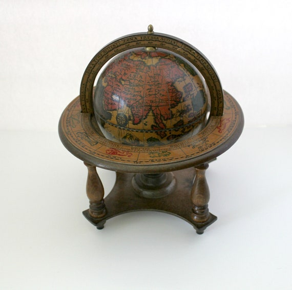 Vintage Italian Old World Globe in Stand, 1970s Wooden Desk Globe