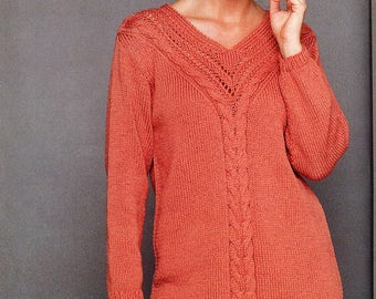 PDF knitting pattern, women's ladies cable knit sweater, V neck tunic, instant download, digital download