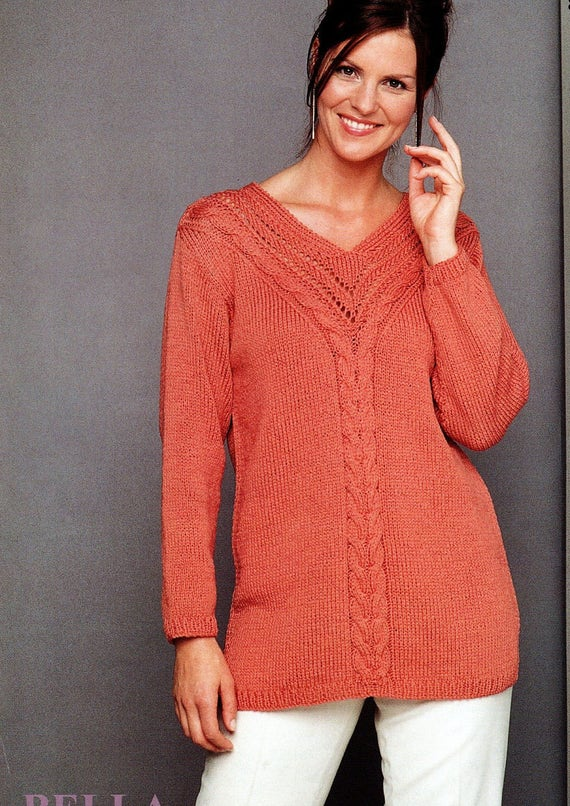 Pdf Knitting Pattern Womens Ladies Cable Knit Sweater V Neck
