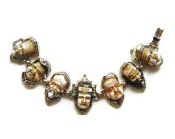 EBINE Japan Seven Fortune gods Bracelet/ Glass Seven gods of Fortune/ Seven Lucky gods 七福神 Shichi Fukujin Porcelain Gold Tone Bracelet