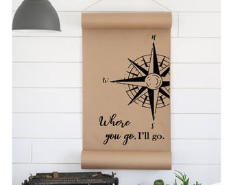 Compass Sign,Office Sign,Farmhouse Sign,Gift for Her,Gift for Him,Wall Decor,Scroll Sign,Quote Sign,Word Art,Farmhouse Scroll,Cottage Sign