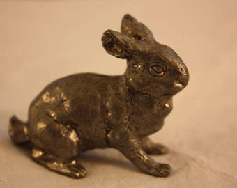 Vintage Solid Pewter Small Rabbit